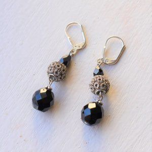 Faceted Black Onyx Silver Dangle Earrings